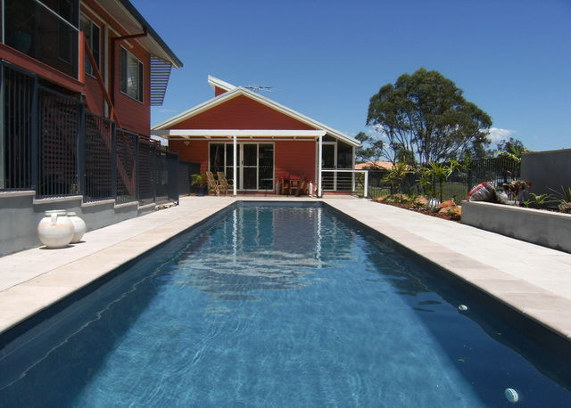 Outside home Lap style pool view